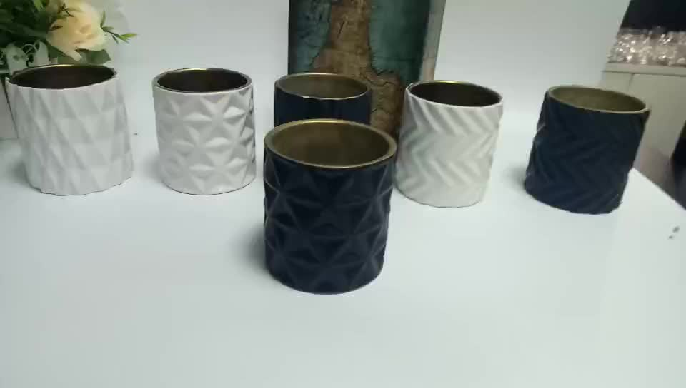 20 OZ Embossed Matte black ceramic candle holders with metallic inside