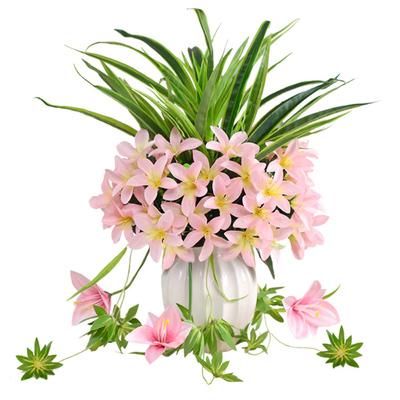 仿真花玫瑰花百合陶瓷花瓶套装假玫瑰花束客厅绢花假花装饰花摆件