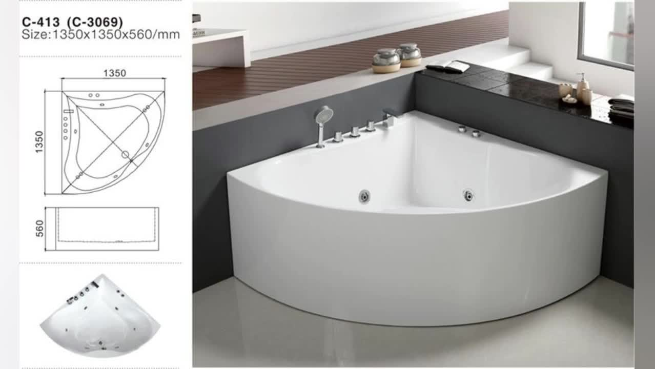 1500mm small round acrylic bathtub multi function two for Best acrylic bathtub to buy