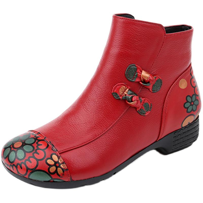 妈妈鞋2020秋冬季新款真皮舒适短靴质量如何