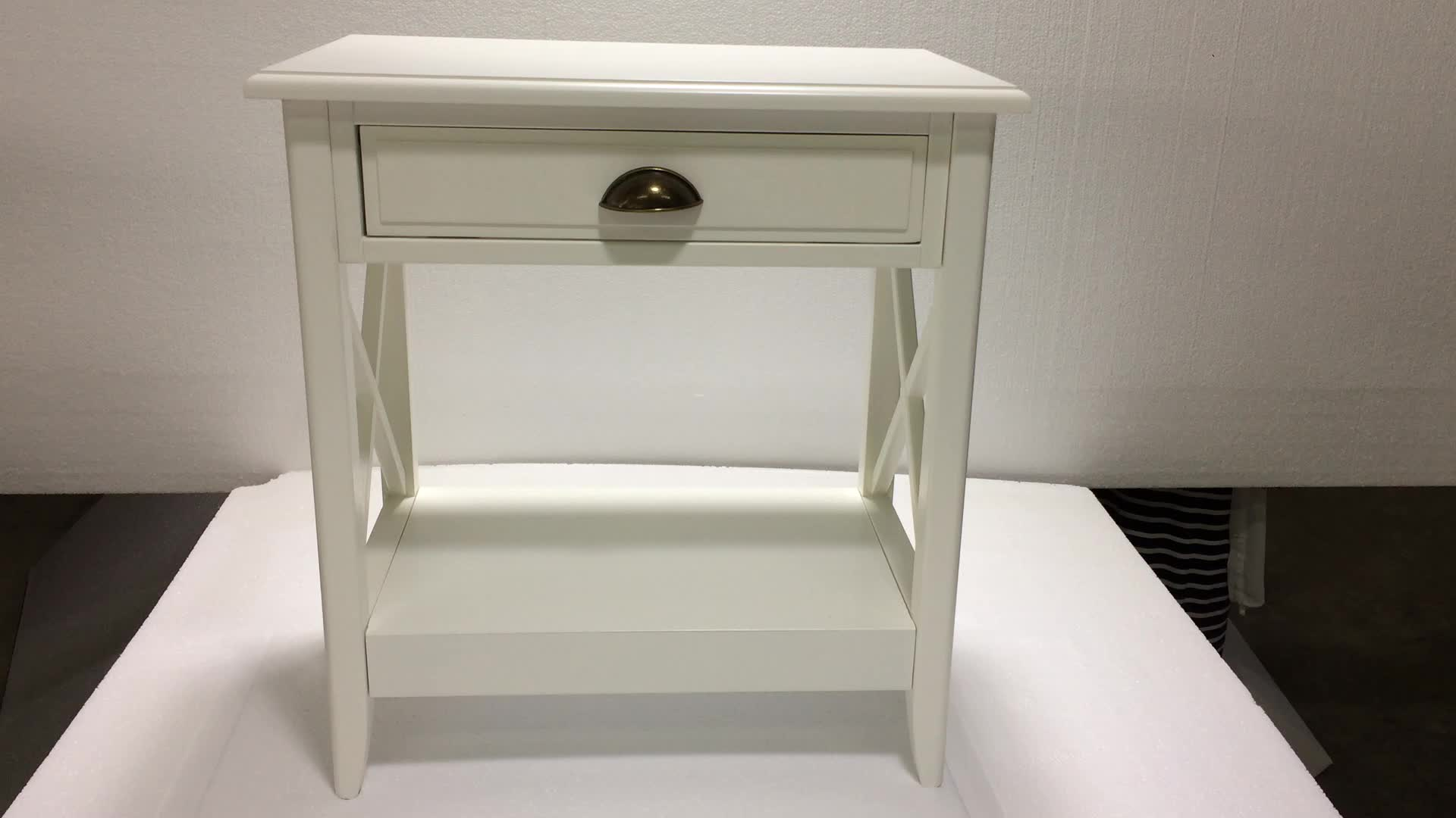 China manufacturer small size wooden white bedside table for White wood nightstand