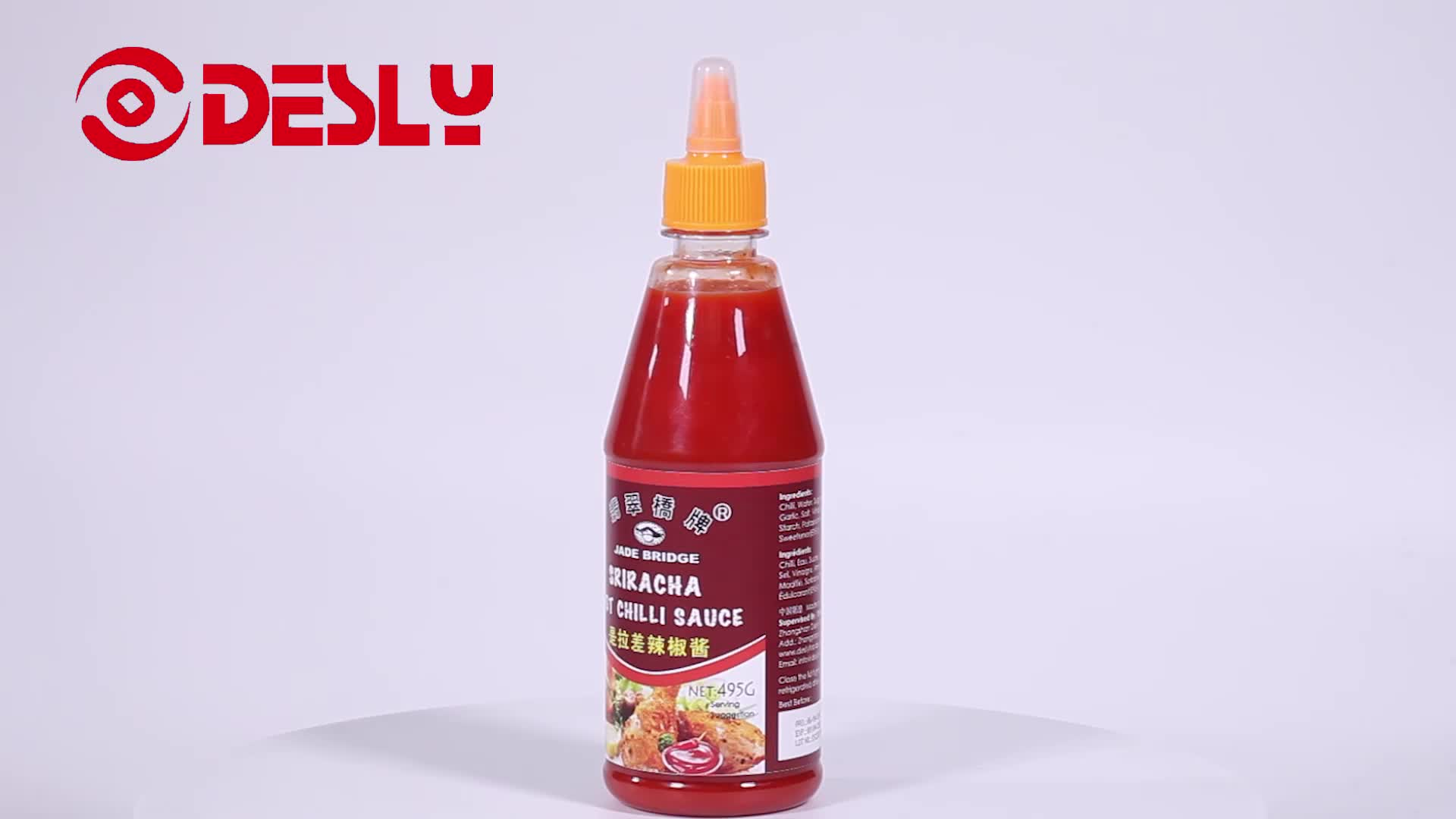 Hot 495g Squeeze Bottle Sriracha Chilli Sauce