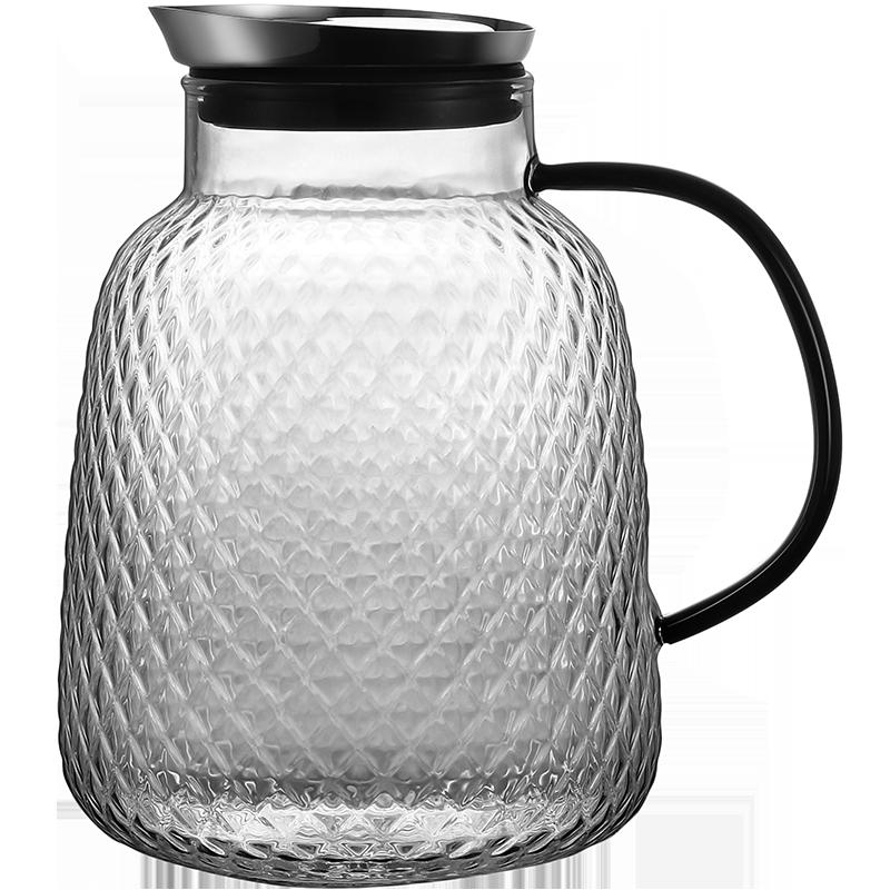棠诗大容量玻璃壶小黑把简约凉水壶家用套装防爆耐高温锤纹冷水壶