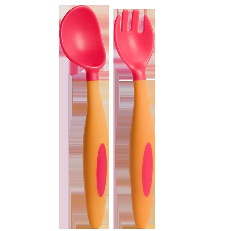 婴儿勺子宝宝学吃饭训练勺子叉子套装新生儿童餐具辅食碗弯头软勺