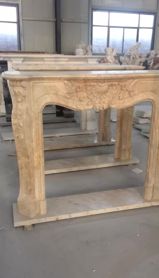 Natural Stone Home Decor Decoration Elegant Hand Carved Marble Fireplace Mantel For Sale Decorative Flowers