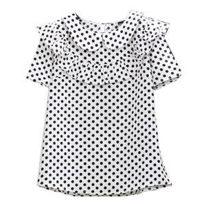 2021新款复古黑色白色翻领波点衬衫