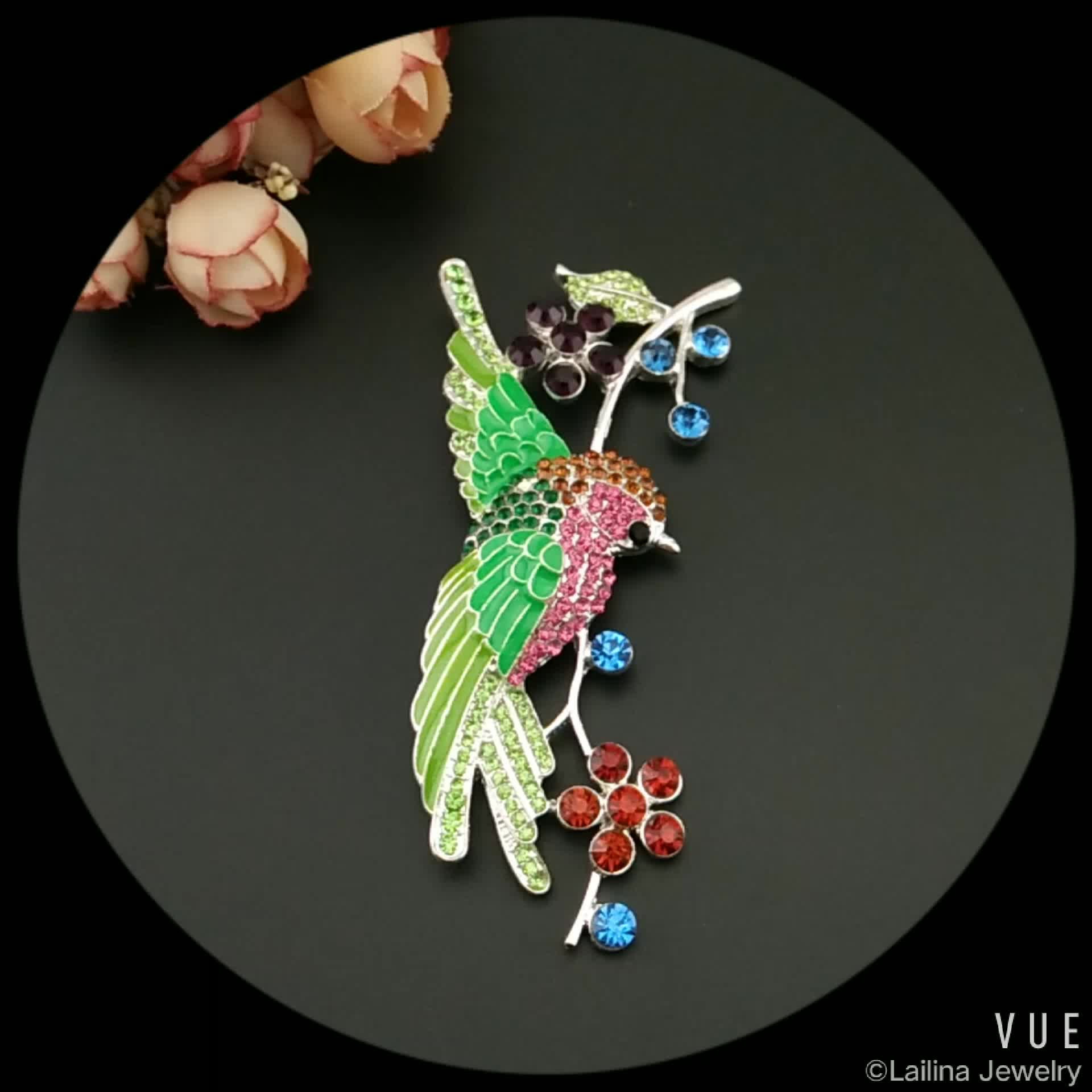 Large Size Enamel Bird Brooch Pins For Women Perfect Rhinestone Crystal Shiny Wedding Brooches Accessories