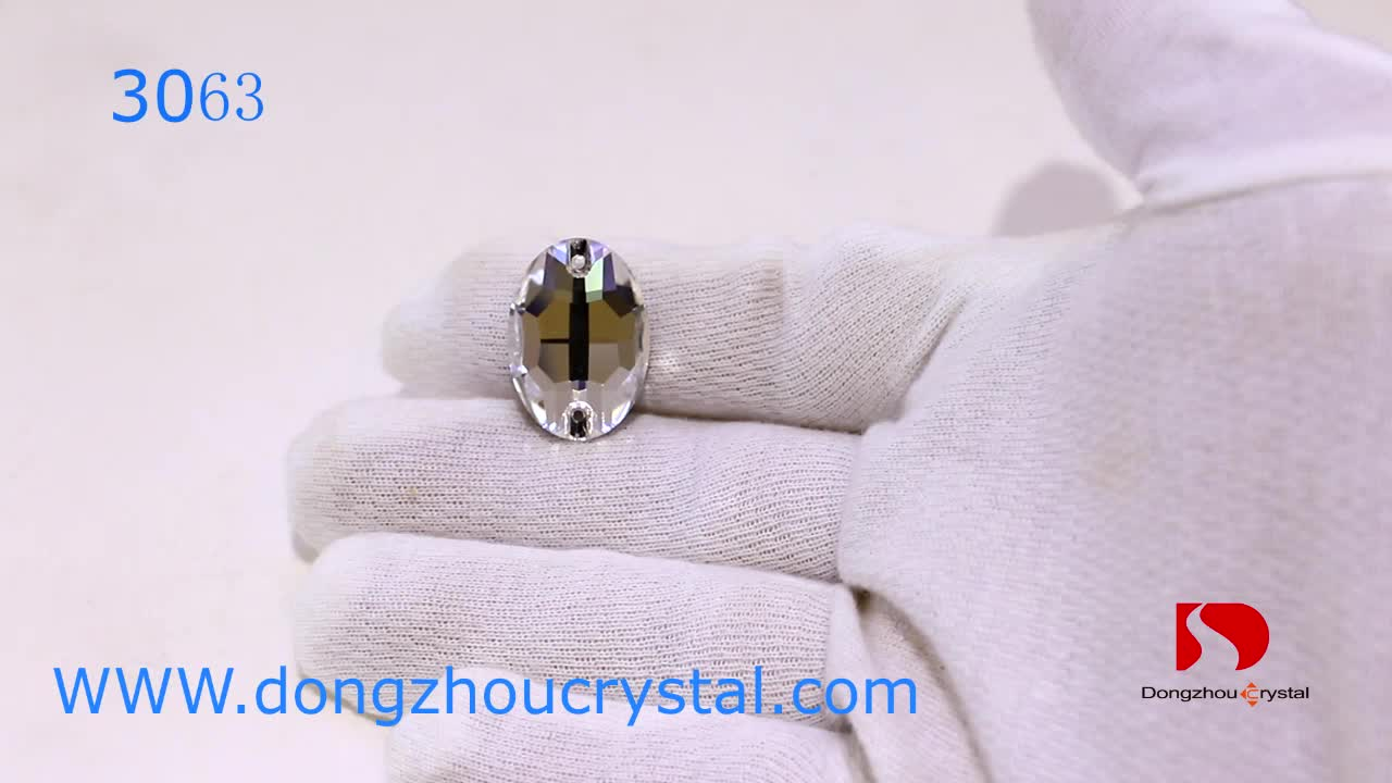 Dongzhou Crystal Factory Directly 3063 Oval Sew On Stone For Garment Wedding Dress