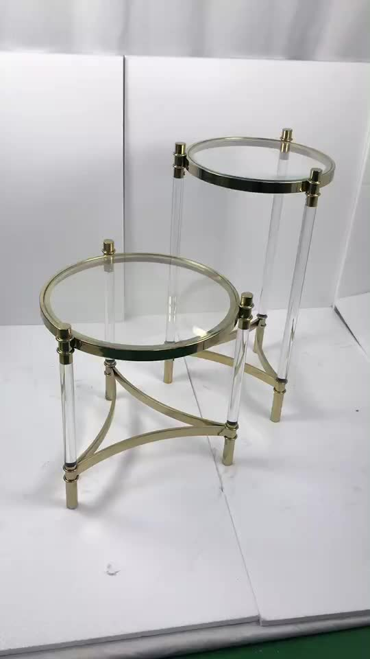 Modern Accent Table Mirrored Acrylic Console Table Metal Acrylic Legs Side Table Living Room