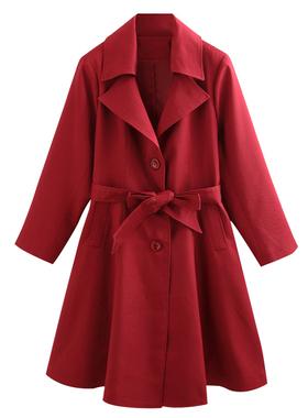 中老年妈妈秋装外套女2021中长新款大码220斤阔太太洋气宽松风衣