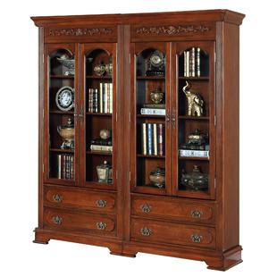 瑞福祥 美式實木書櫃書架 歐式書房傢俱儲物櫃 組合帶門書櫥AI219