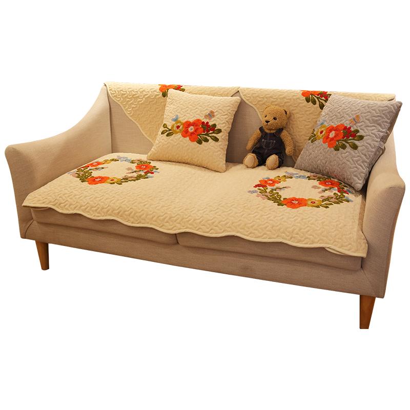 美式田园刺绣立体花卉沙发垫四季通用简约现代沙发巾防滑沙发罩套