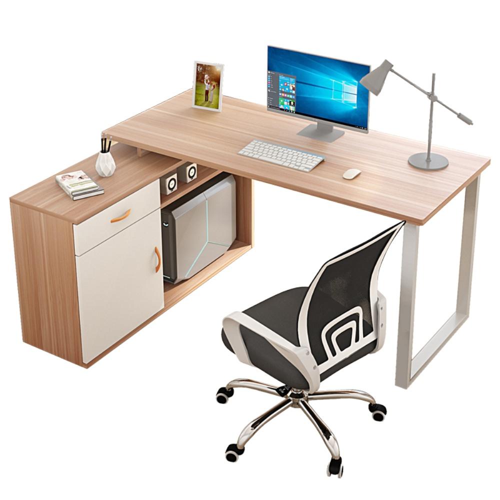 电脑台式家用转角书架一体办公桌使用评测