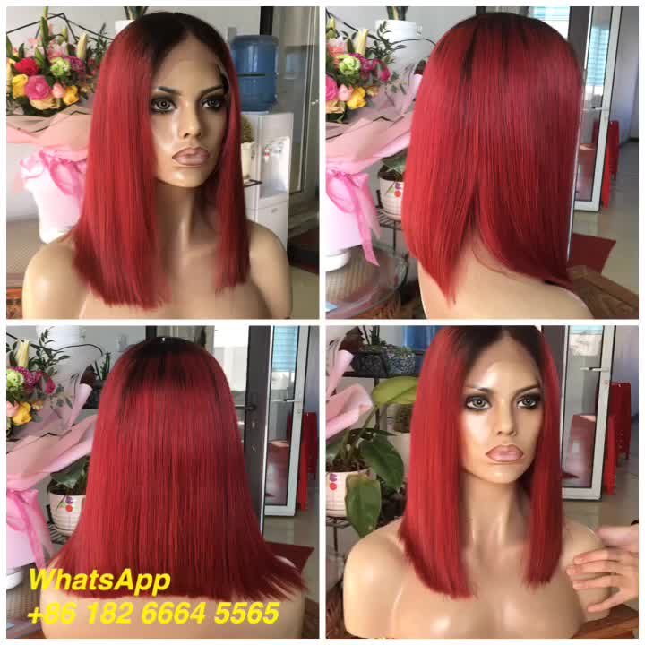 New products 2018 Stock Short Bob Style red human hair lace front wig for black women