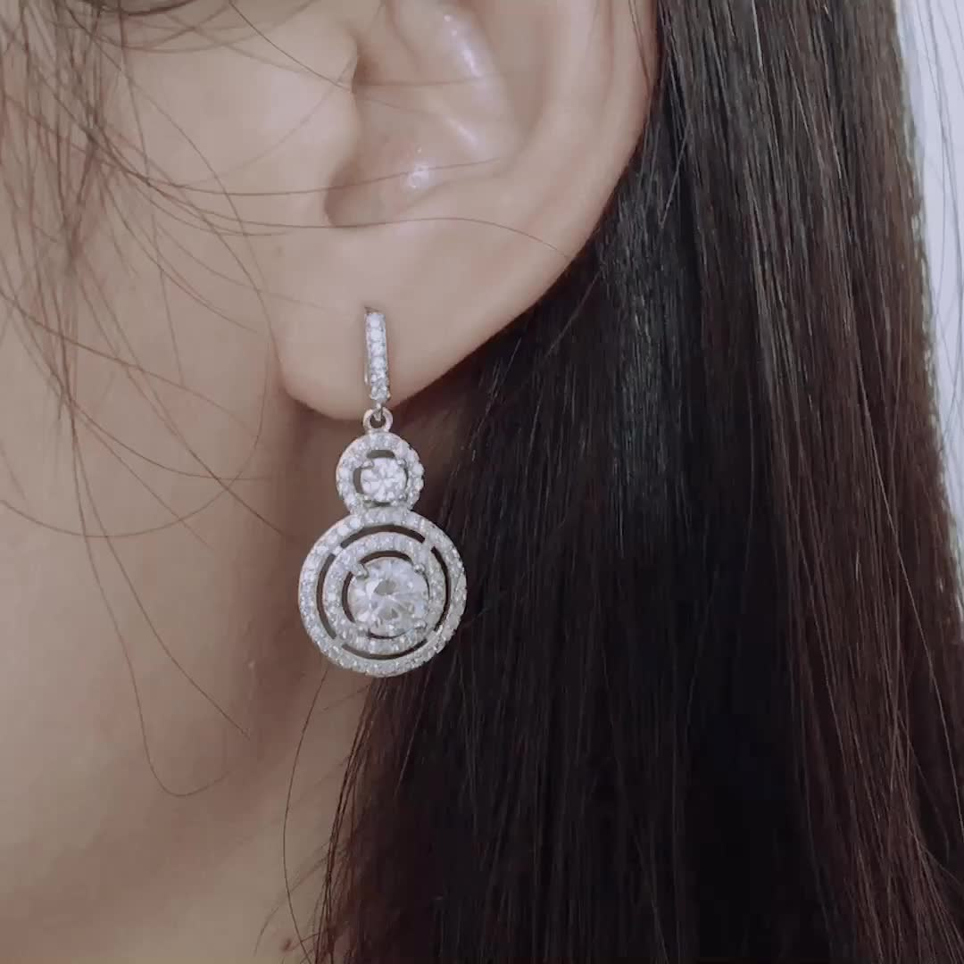 Wholesale drop white gold plated 925 sterling silver earrings