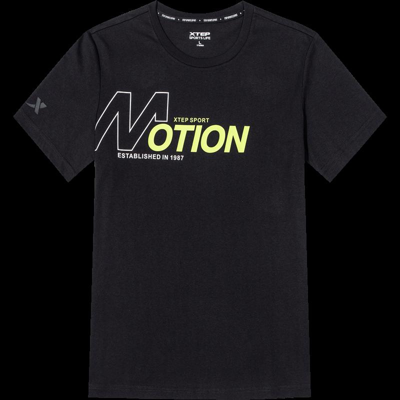特步短袖T恤男2020夏季半袖圆领白色运动潮流t恤薄款透气休闲上衣