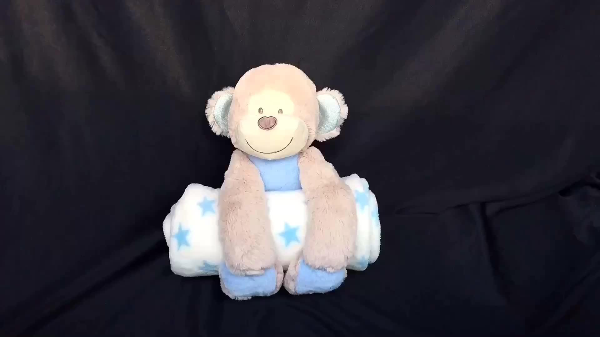 Infant baby stuffed animal toy set monkey plush toy with blanket