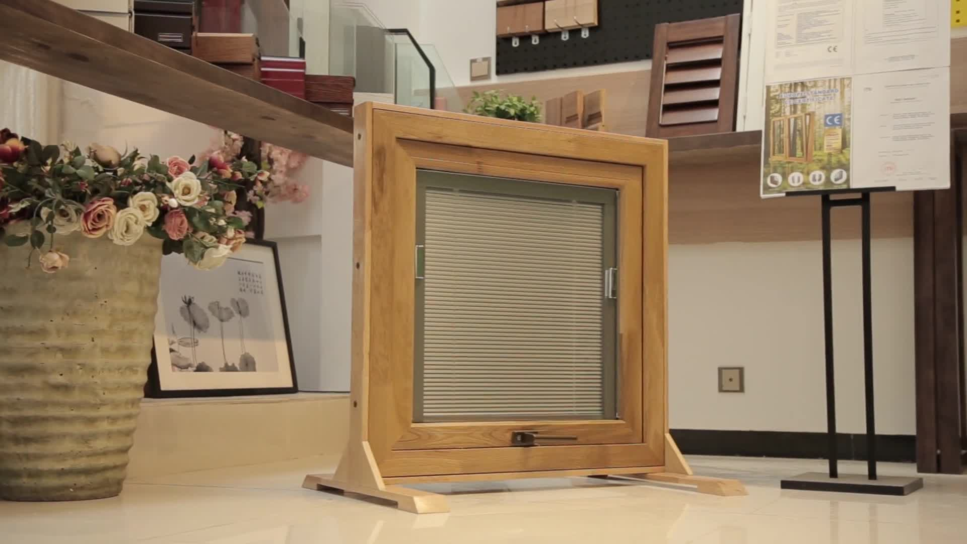 Hot new products wooden blinds windows with built in screen windows