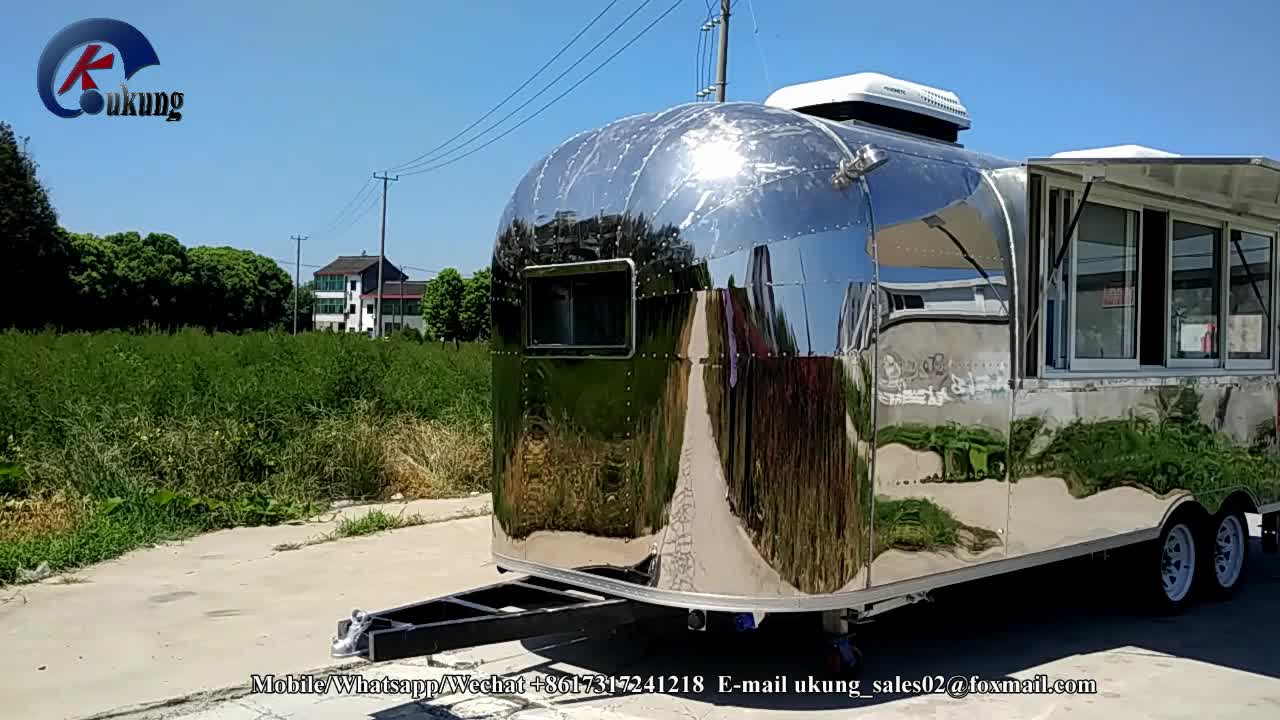 UKUNG stainless steel Germany standard burger trailer equipped with restaurant appliances