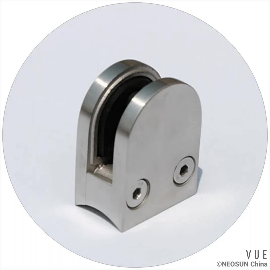 D shape stainless steel glass clamp for railings handrails