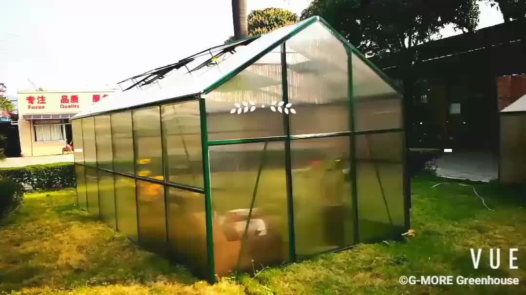 G-MORE Titan/Grange Series, 3M Width/12M length, Strong Fast Assembly Aluminium/10MM Polycarbonate Hobby Greenhouse(GM32312-G)