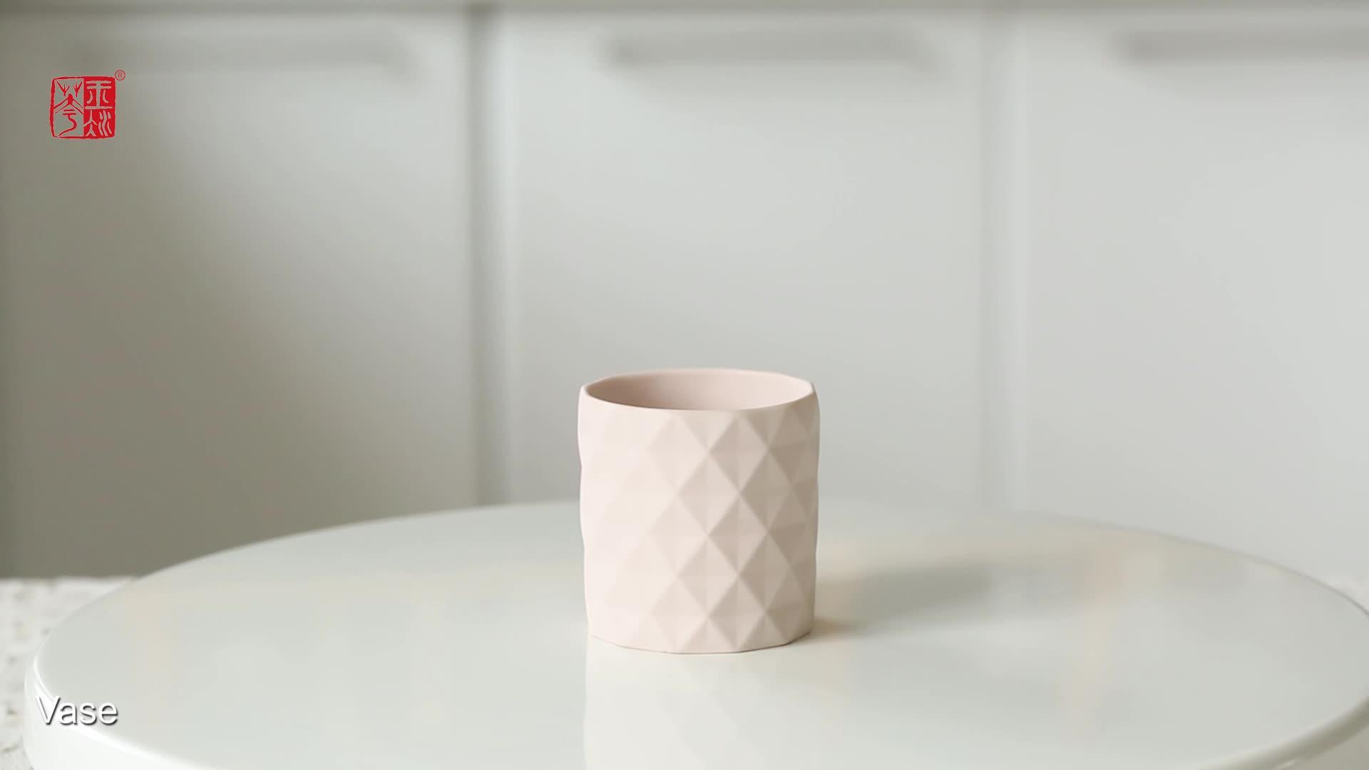 Graceful embossed surface cylinder shape home decoration ceramic planters