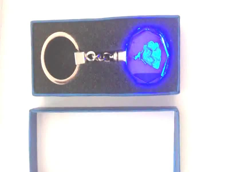3D Laser Gifts Personalized Crystal Light up Crystal Key Chain Personalized Crystal Keychain
