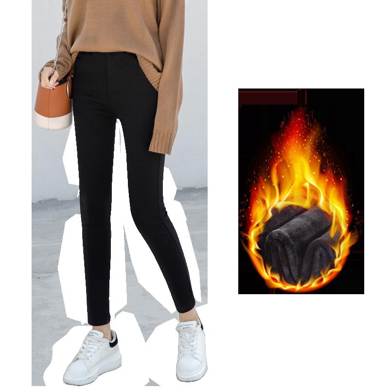 南极人加绒打底裤女裤子秋冬季2019新款黑色小脚加厚高腰保暖外穿