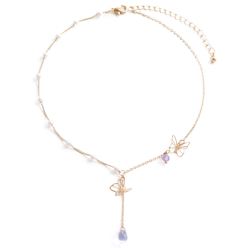 轻奢紫色蝴蝶~适合春夏气质百搭choker脖子饰品颈带锁骨链颈链女