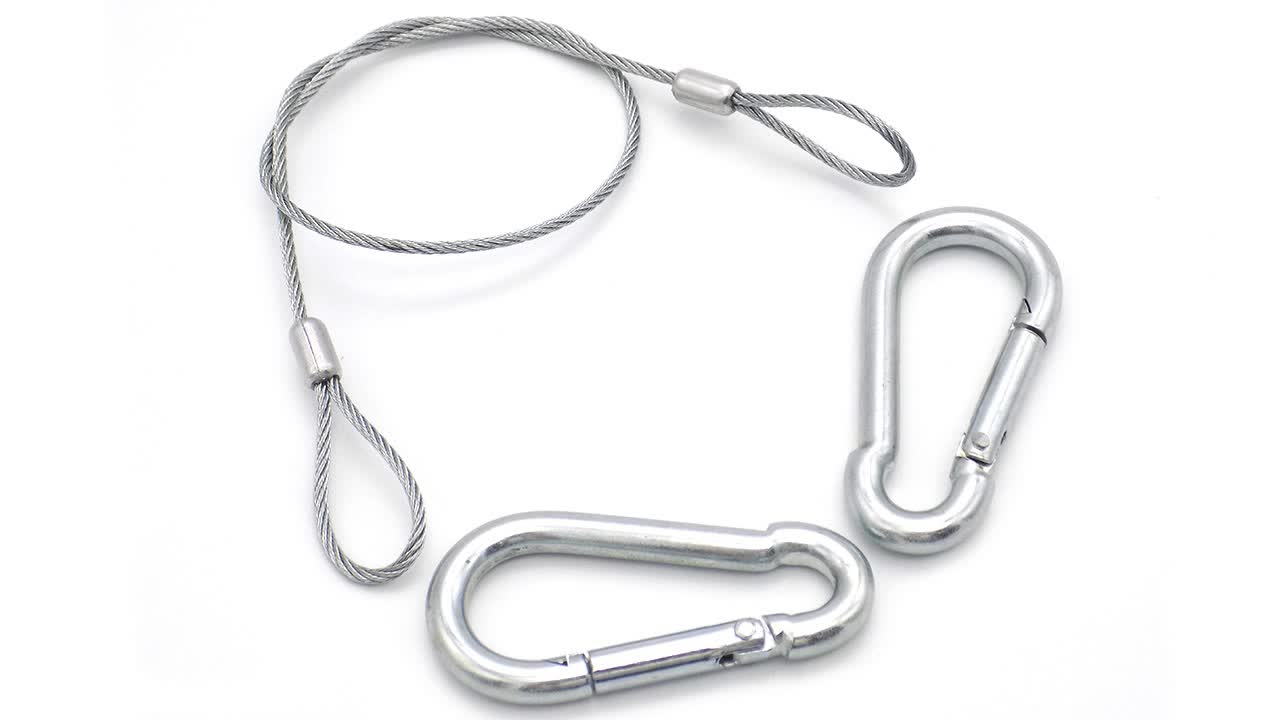 Suspending and Bracing Stainless Steel Wire Rope with Zip Clip Carabiner