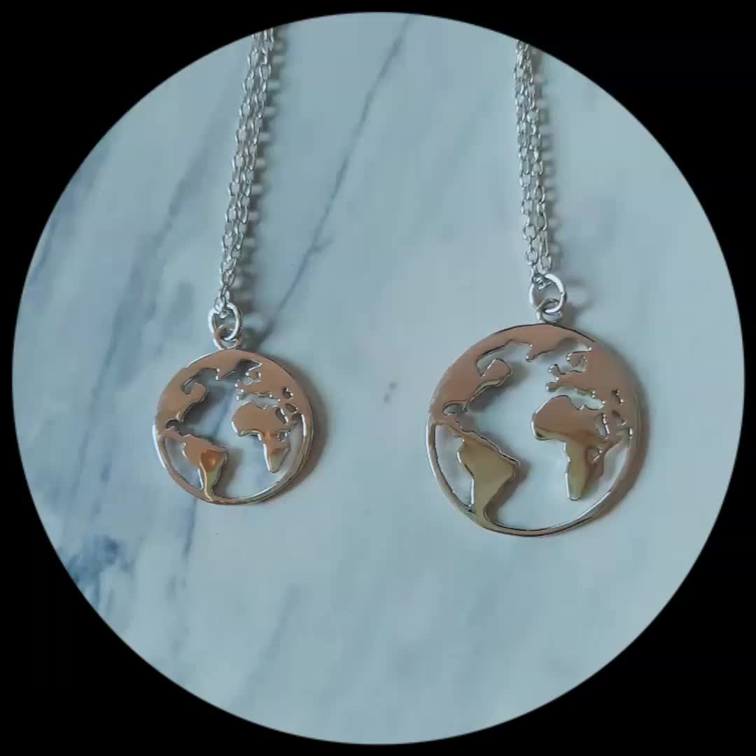 Fashion 925 sterling silver jewelry white gold world map globe fashion 925 sterling silver jewelry white gold world map globe necklace women gumiabroncs Image collections