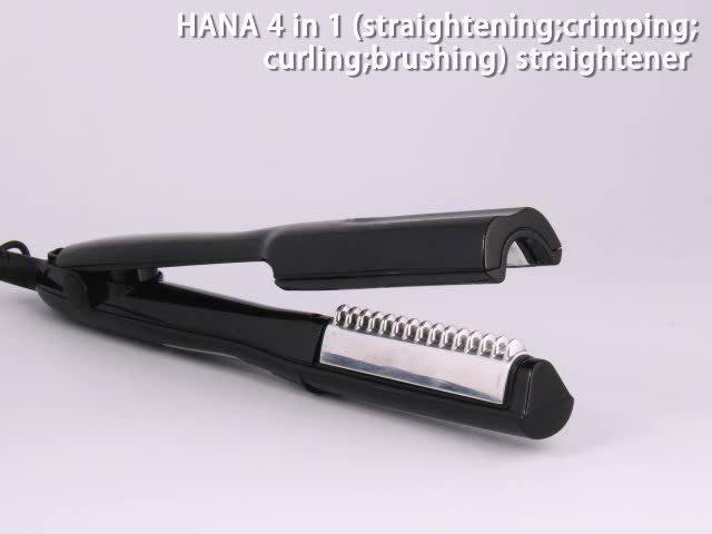 Personalized V-shape heating plates multi-functional 4 in 1 hair straightener and curler with ceramic coating