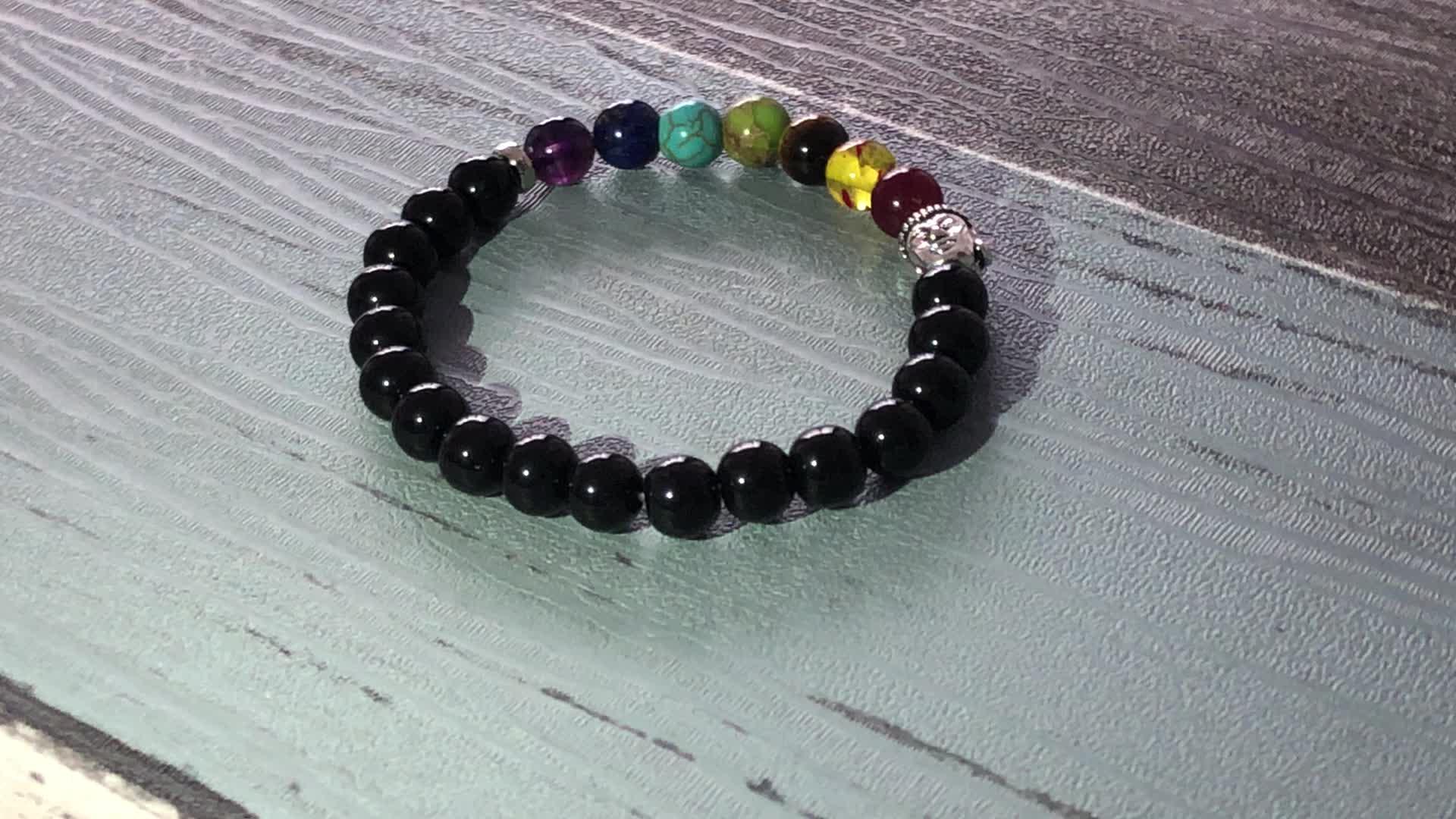 SN0921 chakra gemstones Bracelet For Unisex Black Onyx Chakra Wrists Healing Mala Om Buddha Bracelet