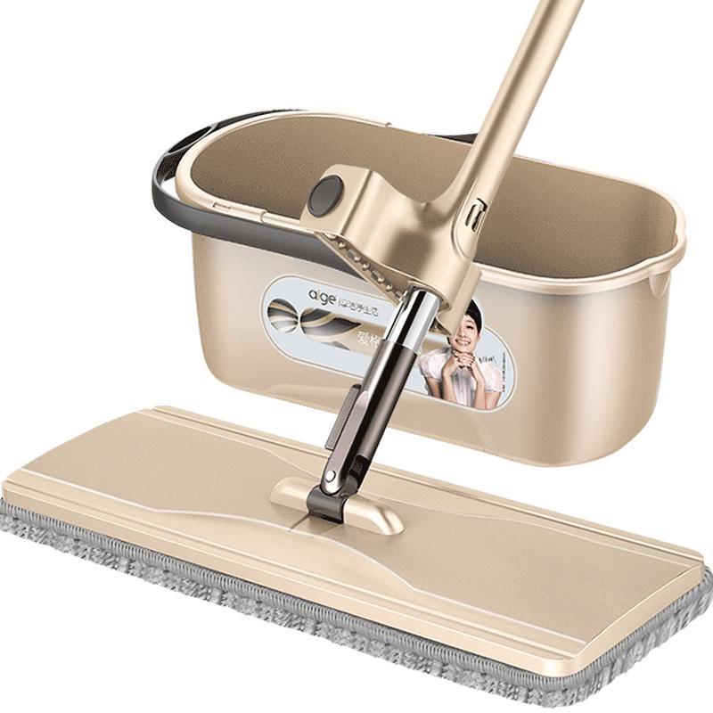 爱格平板拖把懒人免手洗家用瓷砖地一拖净拖布木地板旋转干湿两用