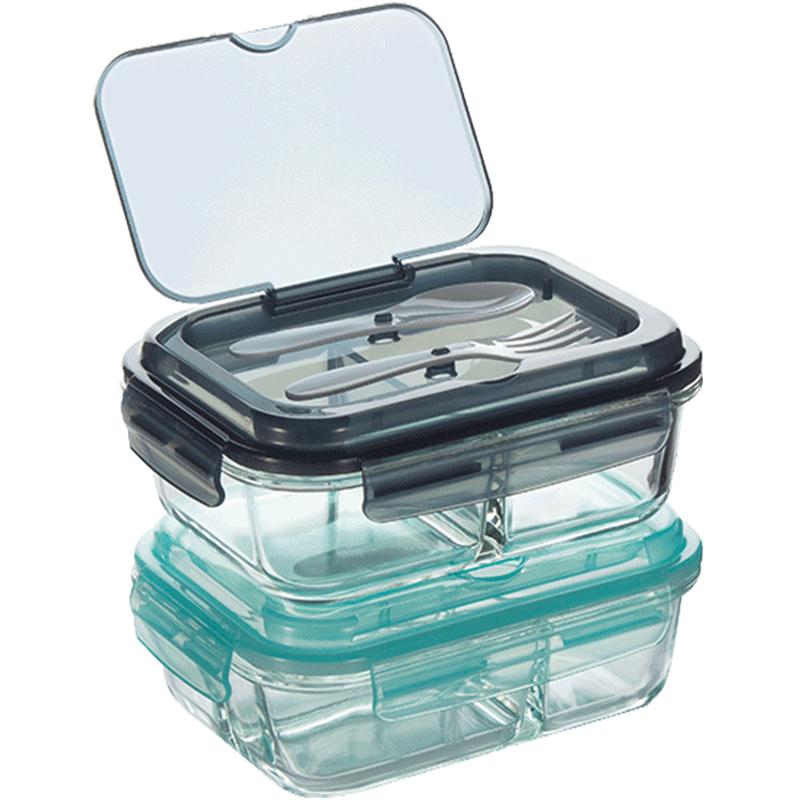 分隔玻璃饭盒上班族便当盒保温分格保鲜盒微波炉专用加热女密封碗
