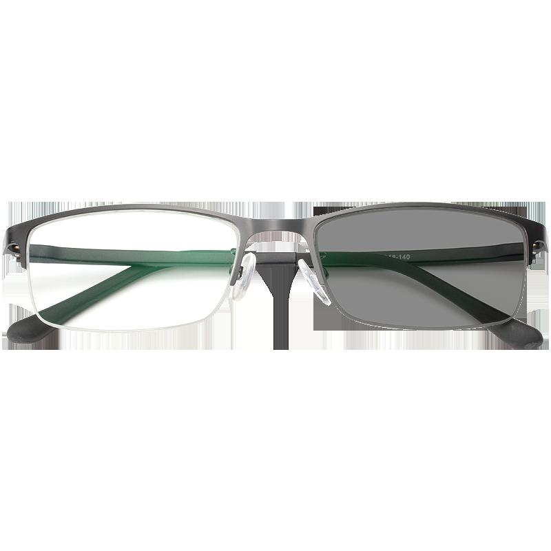 变色眼镜防紫外线辐射抗蓝光男女半框眼睛框平光有度数近视太阳镜