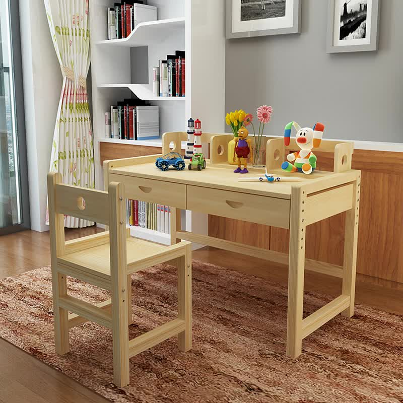 Kids Study Table Set Wooden Kids Desk For Homework,reading And Writing Desk  For Kids