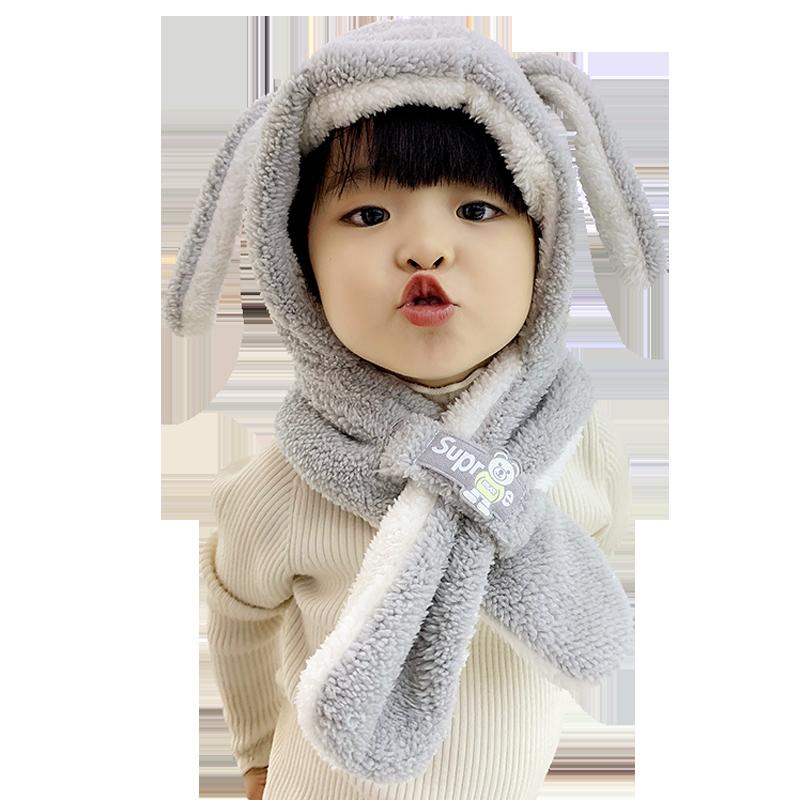秋冬男女宝宝帽子1可爱儿童帽子加厚婴儿帽子护耳围巾围脖一体3岁