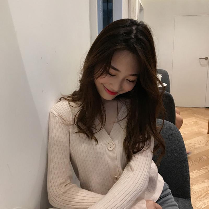 韩版宽松百搭V领针织开衫秋季毛衣外搭气质长袖高腰短款小外套潮
