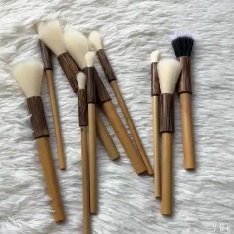 OEM new design custom 10pcs bamboo handle makeup brushes set with waterproof pouch