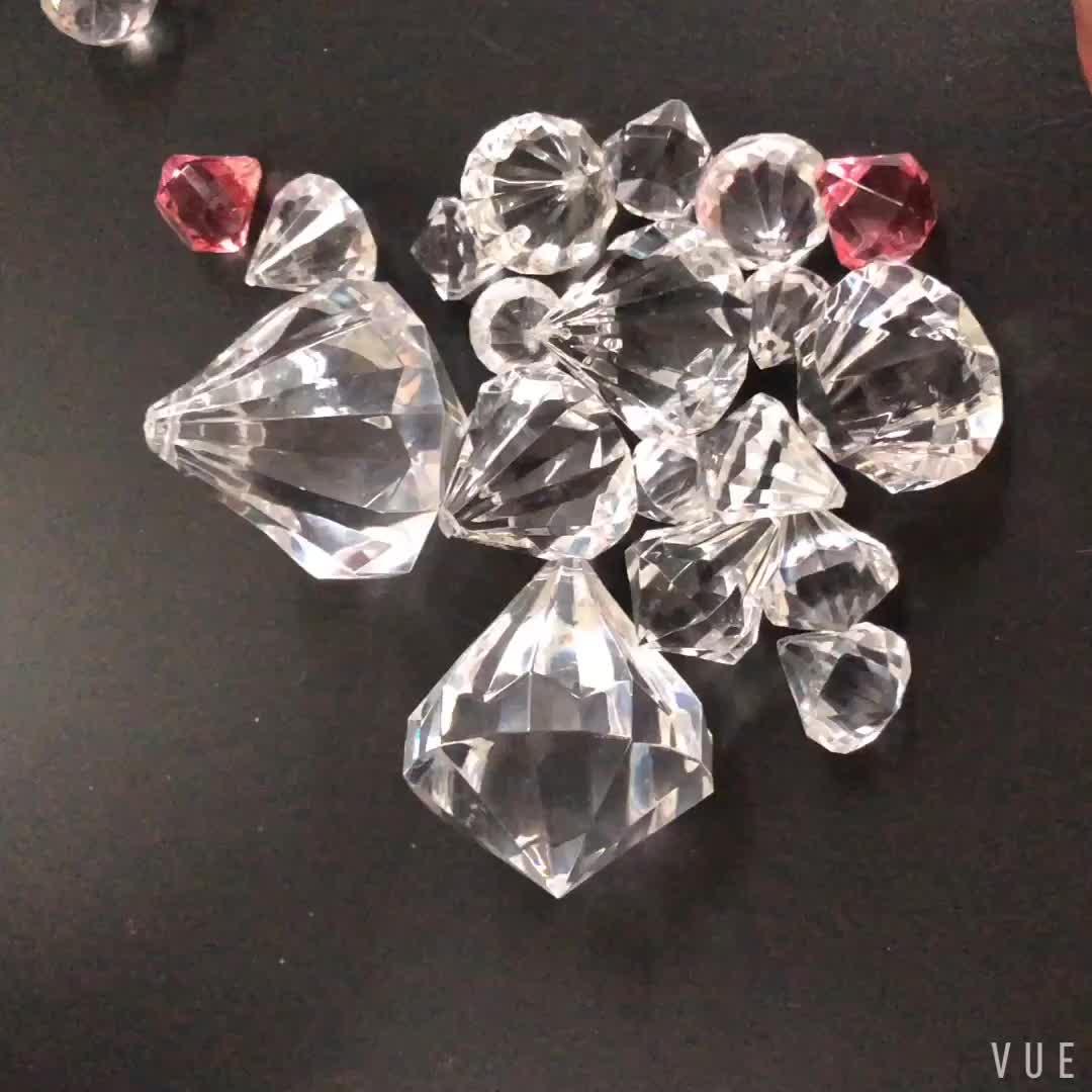 중국 custom free samples transparent plastic 큰 아크릴 diamond 커튼 beads crystal beads