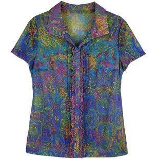 凯斯曼新款中年女粉蓝色大码品牌折扣妈妈装网纱衬衣领短袖T恤