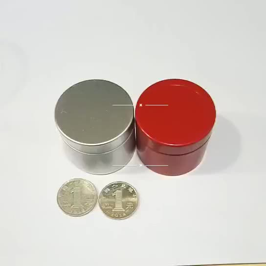 Hot sale 40ML Gold Red silver round candle gift tin container box