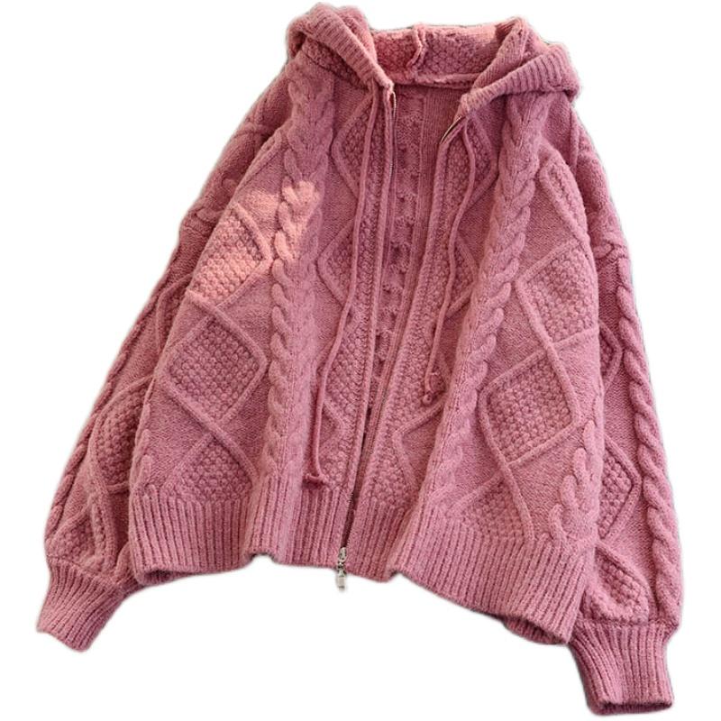 针织连帽麻花外套2020新款宽松开衫质量怎么样