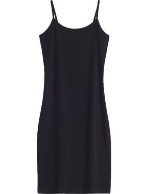 黑色性感吊带裙女夏内搭打底外穿中长款大码修身背心连衣裙小黑裙