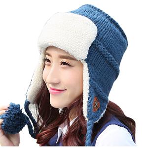 贵伦美雷锋帽冬天双层加厚针织帽子