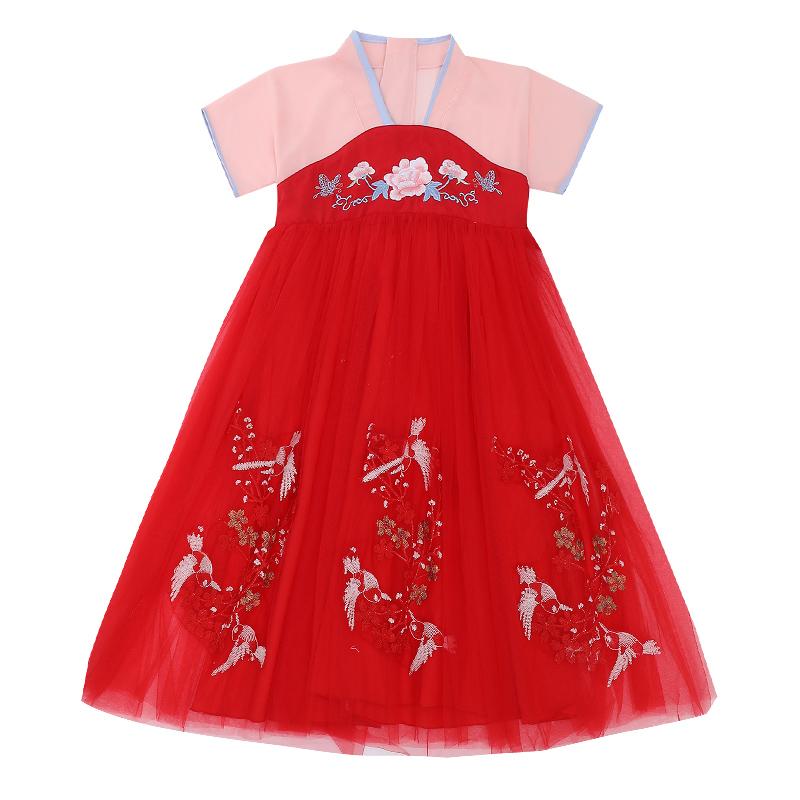 女童汉服夏装短袖襦裙儿童中国风紫色唐装超仙古装仙女服连衣裙