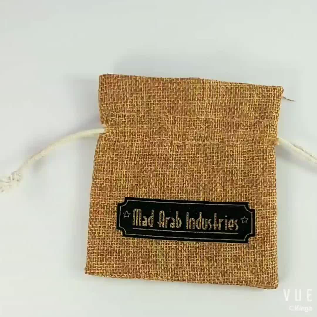 ถุงปอกระเจาขายส่งกระสอบป่านถุงdrawstringบรรจุถุงช้อปปิ้งที่มีโลโก้