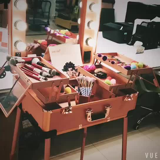 Yaeshii Professional station aluminum rolling trolley cosmetic beauty box makeup vanity case with lights and mirror