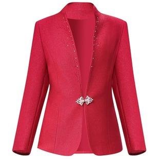 中老年修身红色女装外套春秋款妈妈装喜庆婚宴礼服上衣西服唐装